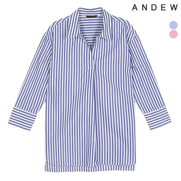 [ANDEW]여성 7부 변형카라 스트라이프 셔츠(O182SH530P)