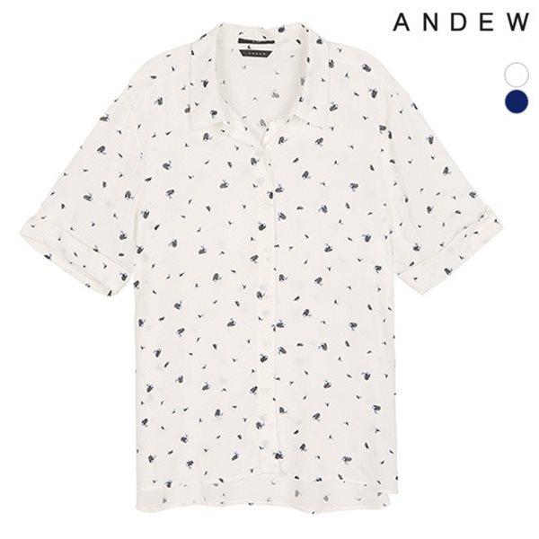 [ANDEW]여성 기본카라 레이온 프린트 반팔 셔츠(O182SH720P)