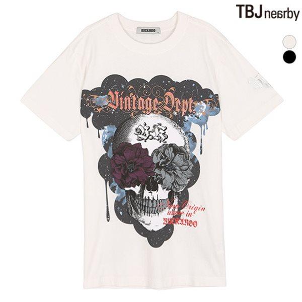 [BUCKAROO]남성 20수 스컬 프린트 R넥 티셔츠(B182TS385P)