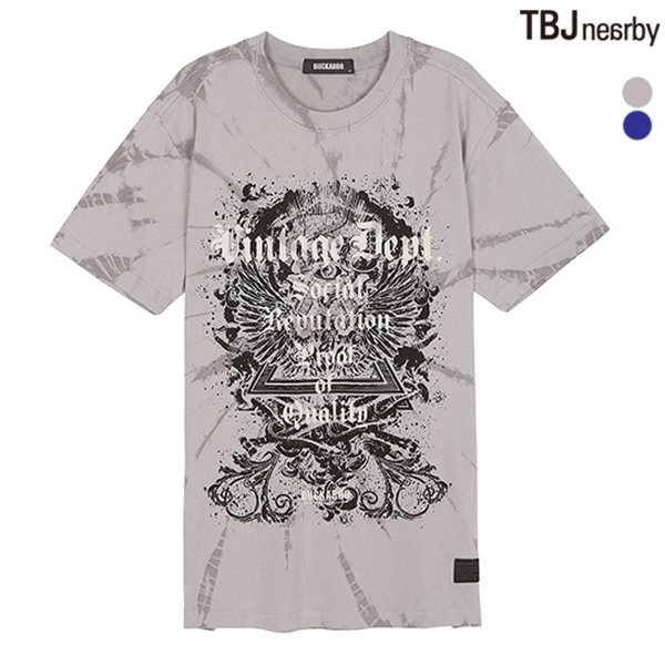 [BUCKAROO]남성 26수 주물럭 빈티지 프린트 R넥 티셔츠(B182TS230P)