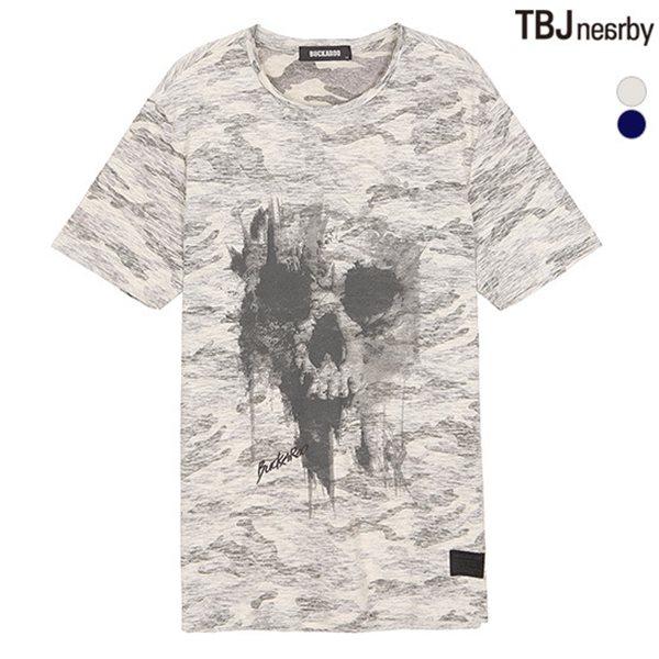 [BUCKAROO]남성 30수 슬럽 까모패턴 해골 프린트 R넥 티셔츠(B182TS270P)