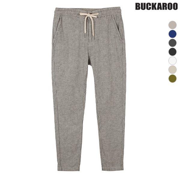 [BUCKAROO]유니 코튼린넨 라이크라 밴딩 배기팬츠(B182PT470P)