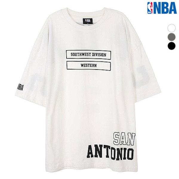 [NBA]SAS SPURS 레터링 프린트 오버핏 티셔츠(N182TS311P)