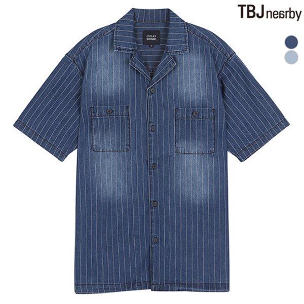 [TBJ]유니 인디고 데님 반팔 셔츠(T182DS310P)