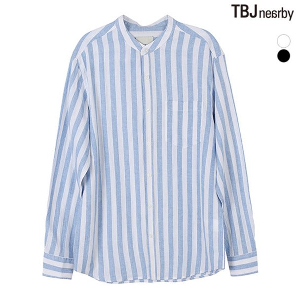 [TBJ]남성 코튼린넨 차이나카라 스트라이프 셔츠(T182SH100P)