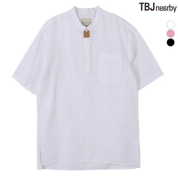 [TBJ]남성 5부 코튼린넨 헨리넥 풀오버 솔리드 셔츠(T182SH310P)