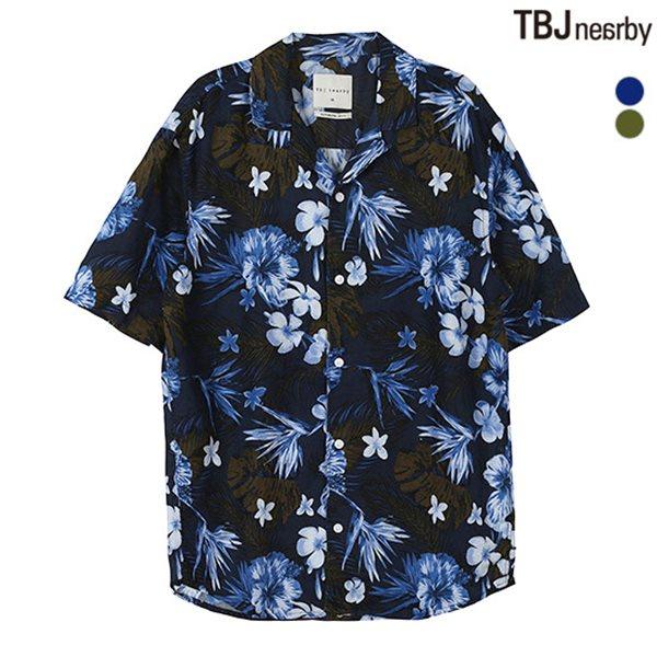 [TBJ]남성 5부 코튼린넨 쿠반카라 패턴 셔츠(T182SH320P)