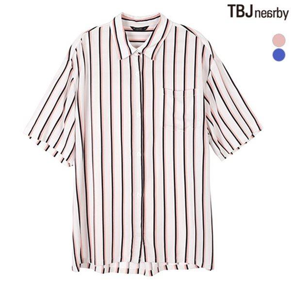 [TBJ]여성 5부 박스핏 스트라이프 셔츠(T182SH500P)