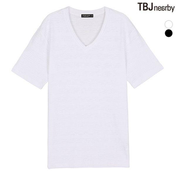 [TBJ]유니 슬럽변형 브이넥 티셔츠(T182TS161P)