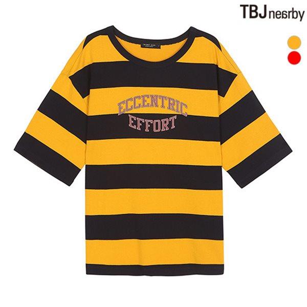 [TBJ]여성 싱글 라운드넥 레터링 스트라이프 루즈핏 티셔츠(T182TS631P)