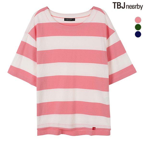 [TBJ]여성 10수 보트넥 스트라이프 루즈핏 티셔츠(T182TS632P)