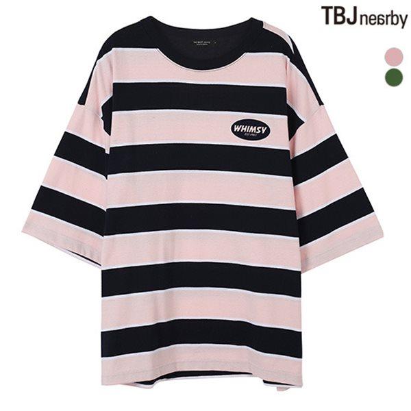 [TBJ]여성 중기장 싱글 스트라이프 자수 7부 티셔츠(T182TS730P)