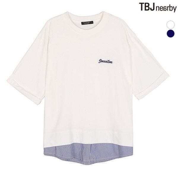 [TBJ]여성 싱글 우븐 레이어드 아트웍 7부 티셔츠(T182TS740P)