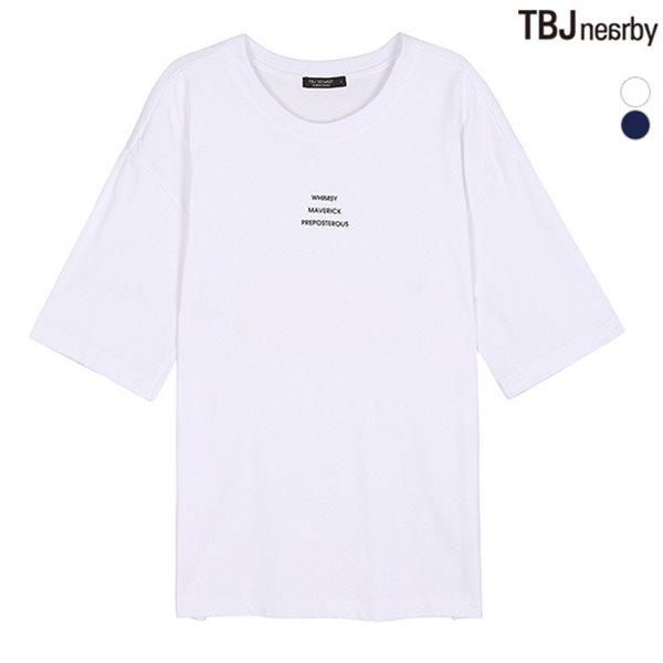 [TBJ]여성 중기장 등판 포토 전사프린트 루즈핏 티셔츠(T182TS750P)