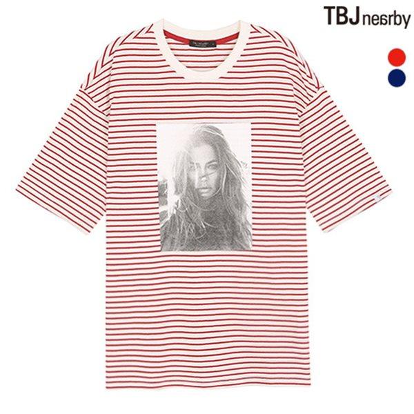 [TBJ]여성 중기장 B&W 전사 스트라이프 루즈핏 티셔츠(T182TS761P)