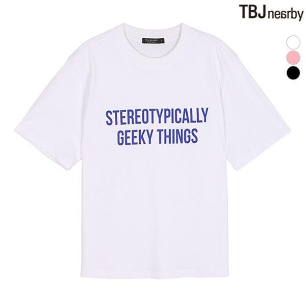 [TBJ]여성 숏기장 싱글 레터링 티셔츠(T182TS602P)
