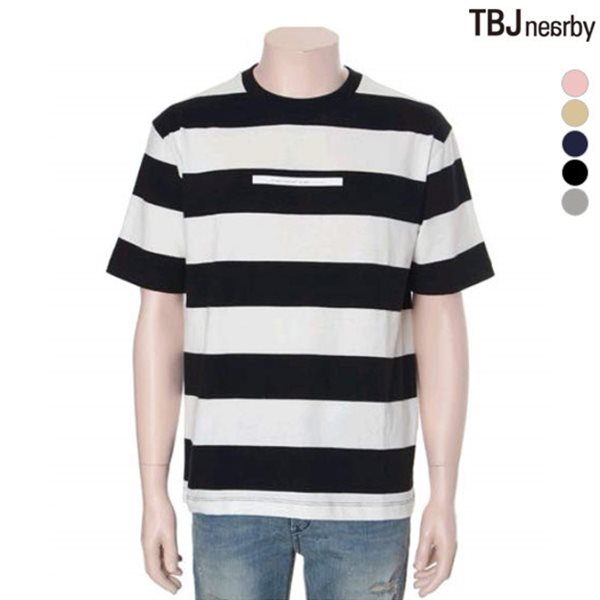 [TBJ]유니 16수 싱글 루즈핏 스트라이프 티셔츠(T172TS008P)