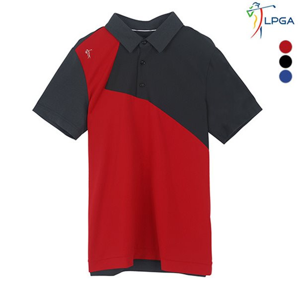 [LPGA]남성 컬러배색 메쉬패치 제에리 티셔츠(L182TS260P)