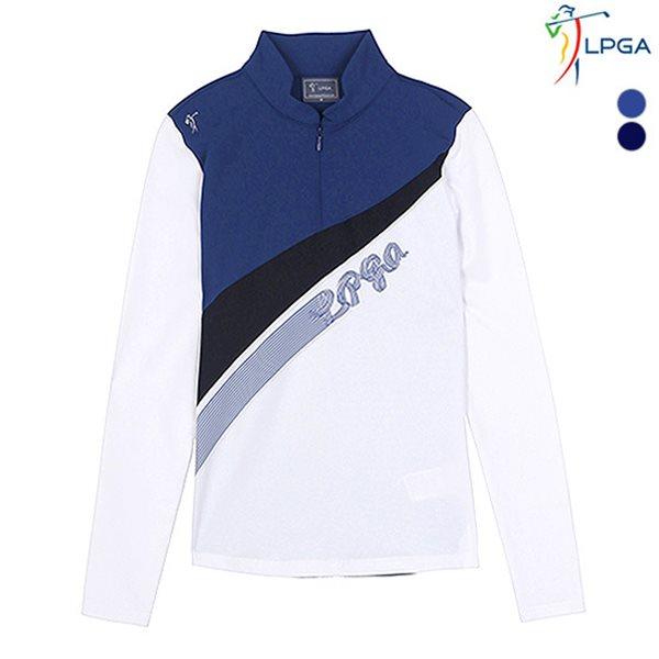 [LPGA]여성 컬러레이션 반집업 티셔츠(L181TS502P)