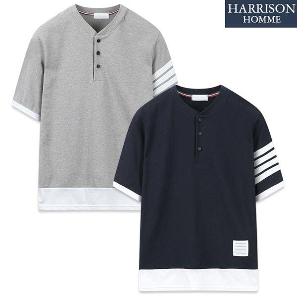 [해리슨] 톰ST 반팔 헨리넥 티셔츠 RKM1118