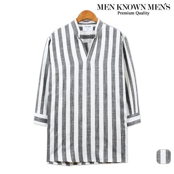 [MKM9]남자 볼드 스프라이프 린넨 7부셔츠