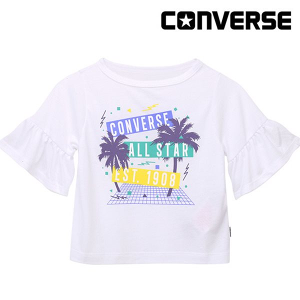 [컨버스키즈] 러플슬리브 티셔츠(반팔)L ENM11ATS90 (키즈)