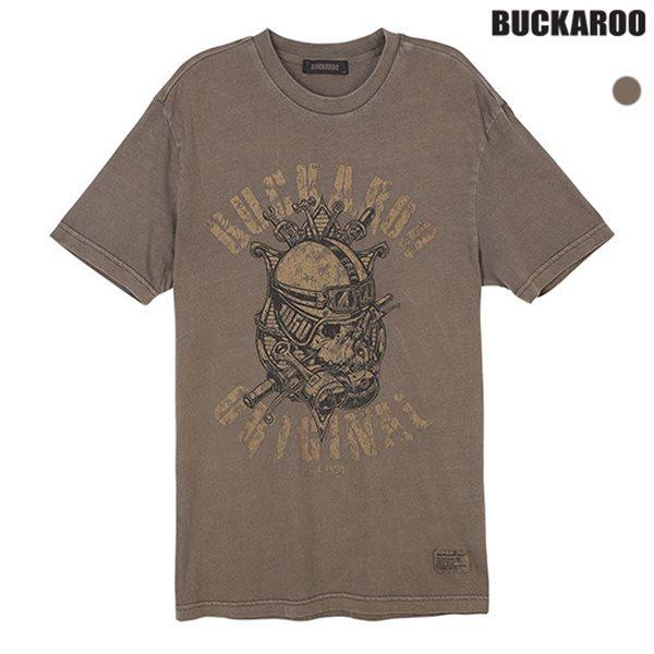 [BUCKAROO]남성 20수 싱글 피그먼트 R넥 티셔츠(B182TS330P)
