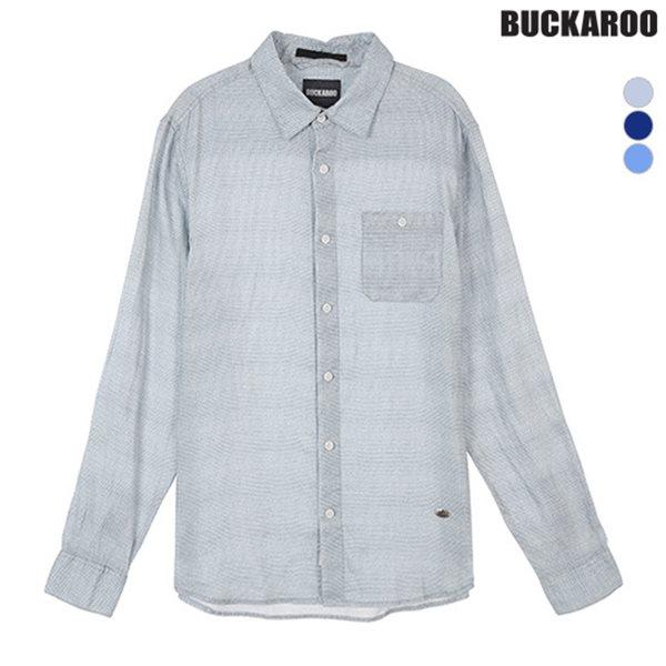 [BUCKAROO]남성 린넨 100% 기본카라 패턴 긴팔 셔츠(B182SH400P)