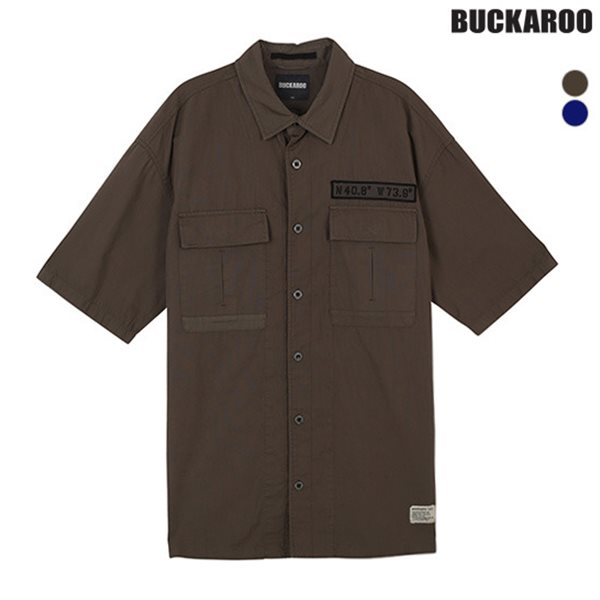 [BUCKAROO]남성 코튼 아웃포켓 반팔 셔츠(B182SH470P)
