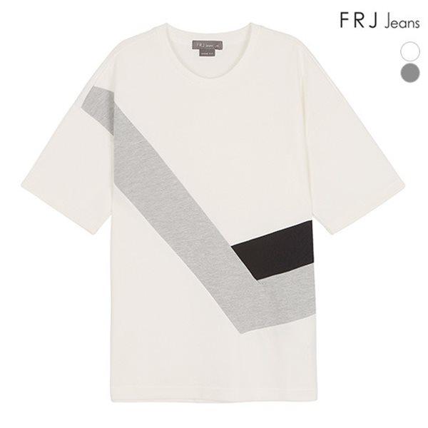 [FRJ] 여름신상 남성 OVER사선절개배색티셔츠 (F82M-TM323A)
