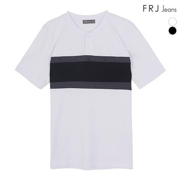 [FRJ] 여름신상 남성 배색절개헨리넥티셔츠 (F82M-TM353A)