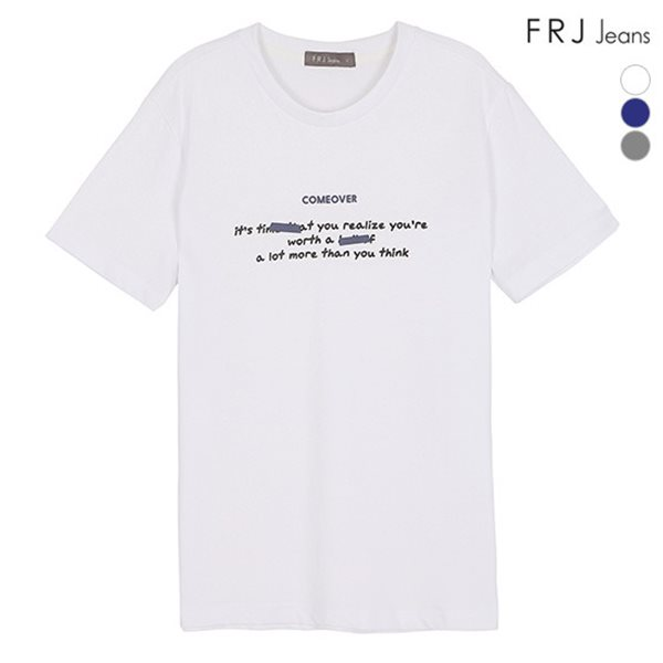 [FRJ] 여름신상 유니 레터링테이프프린트유니티셔츠 (F82U-TM053B)
