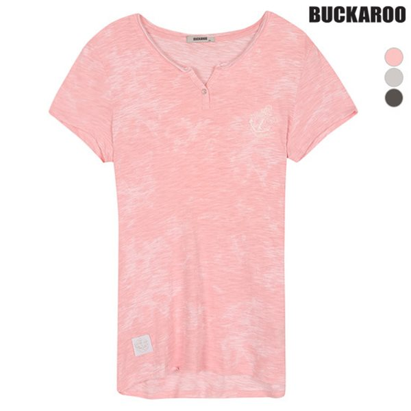 [BUCKAROO]여성 30수 슬럽 빈티지 슬림 헨리넥 티셔츠 (B182TS590P)