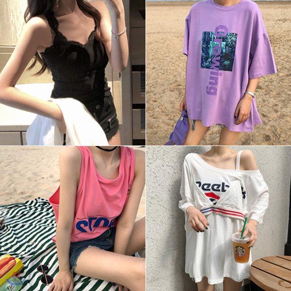 데일리로 입기좋은 썸머 티셔츠 총집합(set630)기본티/반팔티/스트라이프/나시티/레이어드티