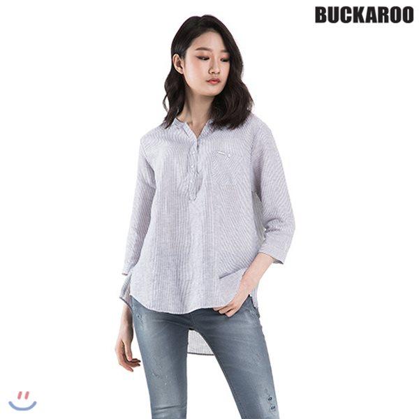 [BUCKAROO]여성 린넨코튼 칠부소매 헨리넥 셔츠(B182SH550P)