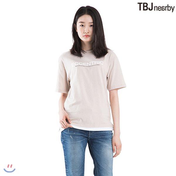 [TBJ]유니 싱글 밑단 레이어드 아트웍 티셔츠(T182TS005P)