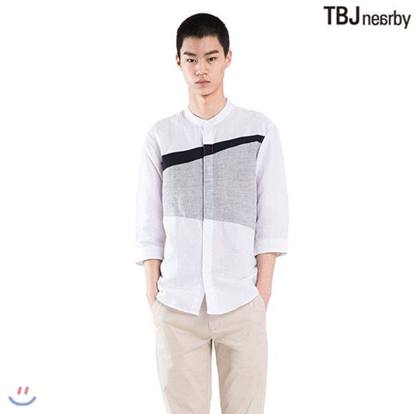 [TBJ]남성 7부 코튼린넨 차이나카라 절개배색 셔츠(T182SH220P)