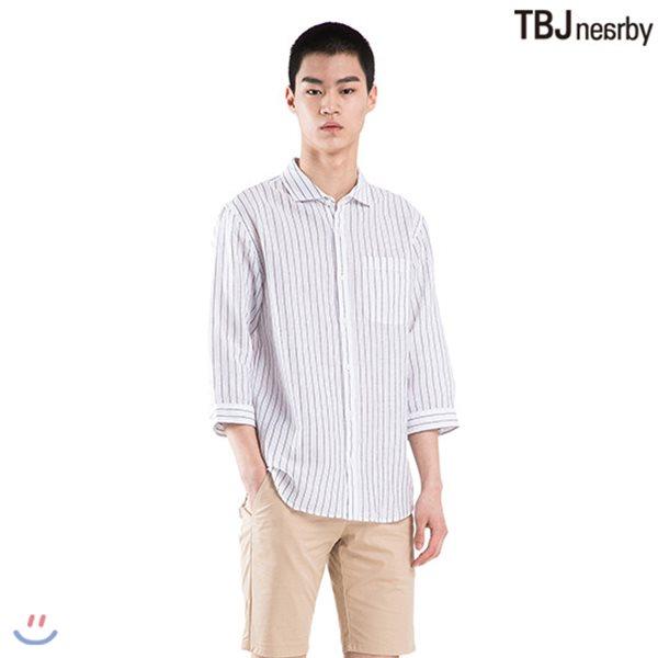 [TBJ]남성 7부 코튼린넨 기본카라 기본핏 스트라이프 셔츠(T182SH201P)