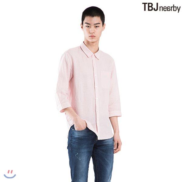 [TBJ]남성 7부 코튼린넨 기본카라 기본핏 솔리드 셔츠(T182SH200P)