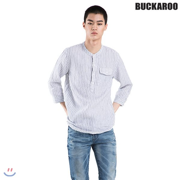 [BUCKAROO]남성 린넨 100% 칠부소매 헨리넥 셔츠(B182SH450P)