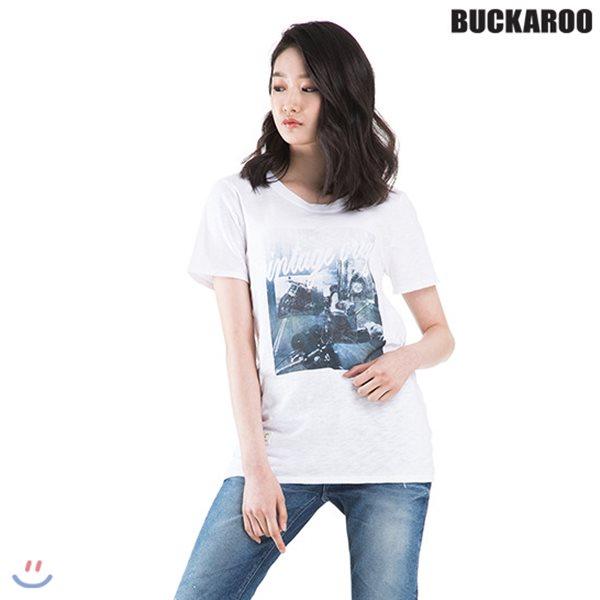 [BUCKAROO]유니 20수 전사프린트 R넥 티셔츠(B182TS105P)