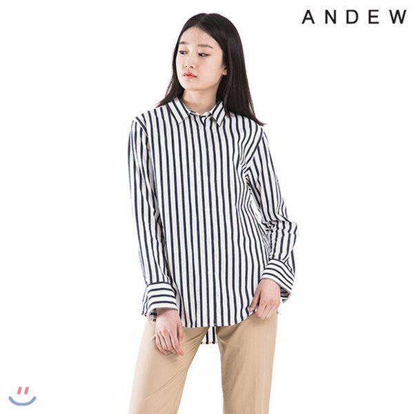 [ANDEW]여성 기본카라 요루 스트라이프 셔츠(O182SH700P)