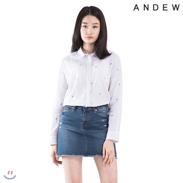 [ANDEW]여성 기본카라 스트라이프 자수 셔츠(O182SH520P)