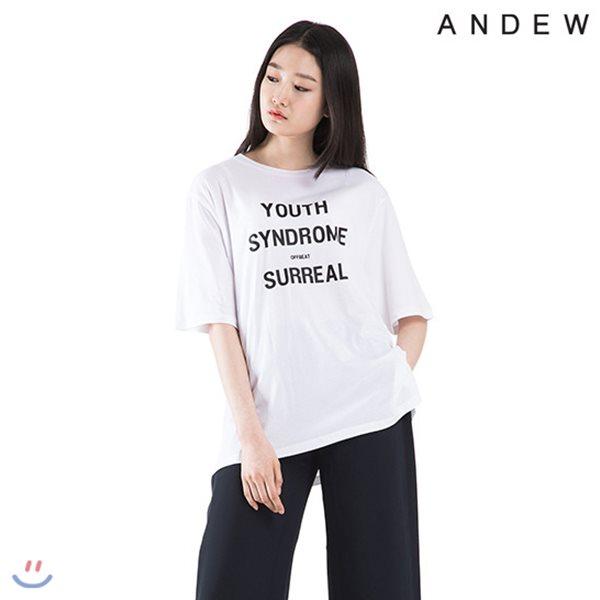 [ANDEW]여성 라운드 모달 프린트 반팔 티셔츠(O182TS610P)