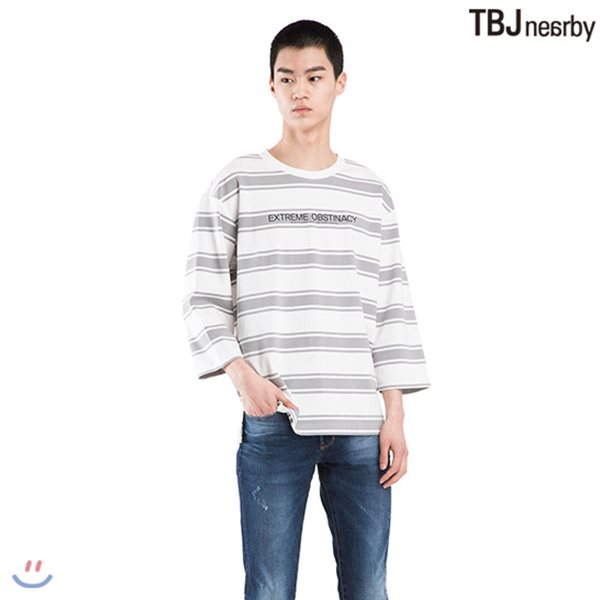[TBJ]남성 분또 7부소매 스트라이프 티셔츠 (T182TS051P)