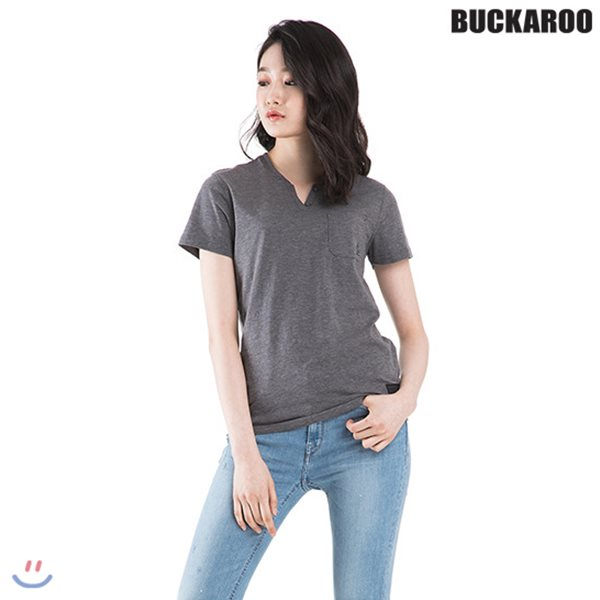 [BUCKAROO]유니 26수 슬럽 슬릿 헨리넥 티셔츠(B182TS035P)