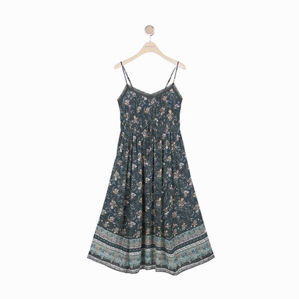 [Thursday Island]_T184MOP255W_스모킹 어깨끈 비치 드레스