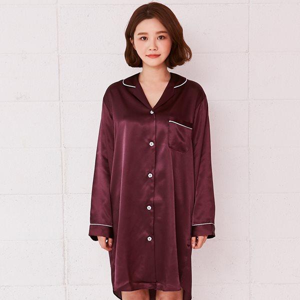 핑코코 1033 버건디 샤무즈 셔츠원피스/홈웨어/잠옷