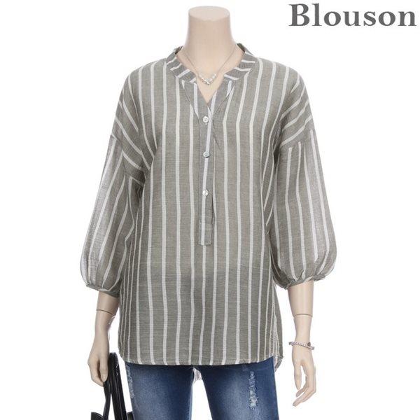 [블루종]스트라이프 벌룬 셔츠_[B1806BL131B]