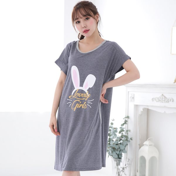 솔로 6847 토끼밴드 반팔원피스/홈웨어/이지웨어/잠옷